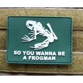 Emblemat PVC 3D Frogman -olive