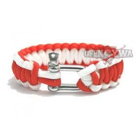 Bransoletka Survivalowa Paracord  -biało czerwona
